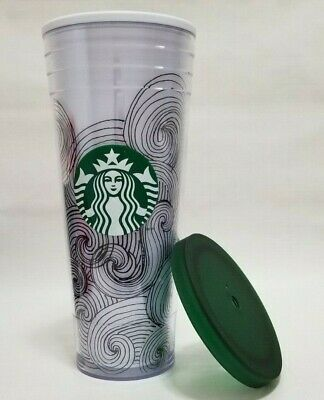 Starbucks 2012 24oz Venti Double Walled Tumbler Green Swirls Flat Top Lid