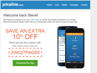 Priceline.com 10% off Discount Coupon Express Deal Hotels Exp 8/20/2019
