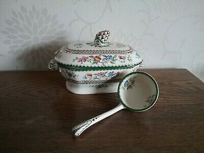 Antique Copeland Spode Chinese Rose ladle small tureen face handles RdNo 629599