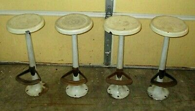 "4-Org Antique Porcelain Stool-Ice Cream Soda Fountain Parlor-28""-Brass Cast Iron"
