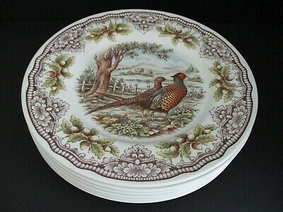 The Victorian English Pottery Pheasant Dinner Plate Set of 6 NWT made In England