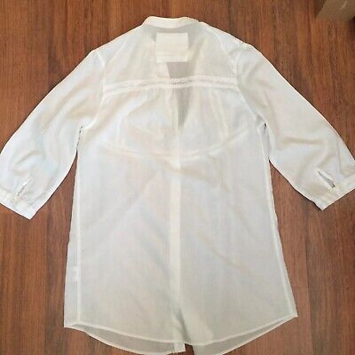 Ladies UK Size 18-26 Antique Cream Broderie Anglaise Tunic Top