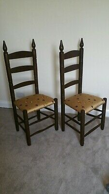 Antique Jacobean Gothic Style hand Cut slats/bars,  Wooden Chairs