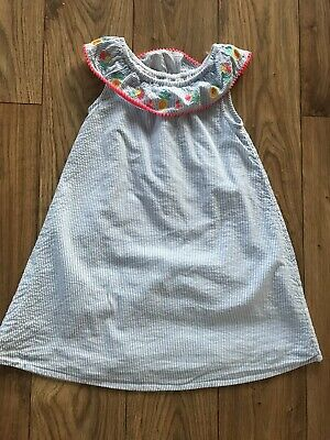 Girls M&s Blue & White Stripe Summer Dress With Embroidery Collar 4 -5 Worn Once