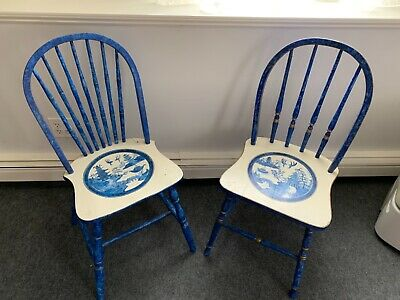 Pair of Pretty Hand Painted Vintage Wooden Windsor Chairs in  Blue Willow Design