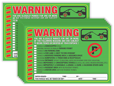 Parking Violation Stickers Notice Pack of 50 Tow Warning You are Illegally Multi