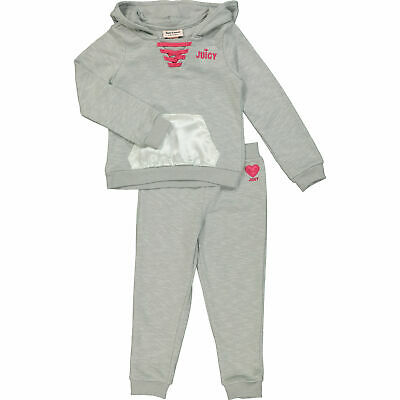 JUICY COUTURE Girl's Warm&Cosy Light Grey Hoodie & Joggers Set: 2, 3, 4 yrs