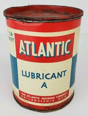 """Vintage Atlantic Refining Company Lubricant """"A"""" Metal 1 Lb Grease Can w/ Lid"""