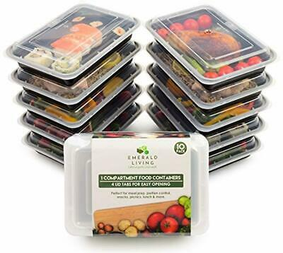 Emerald Living Premium 1 Compartment Meal Prep Container Set. 10 pack of BPA Fre