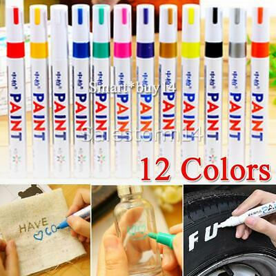 12PC Multicolored Rubber Permanent Paint Marker Pens Car Tyre Tread Waterproof A