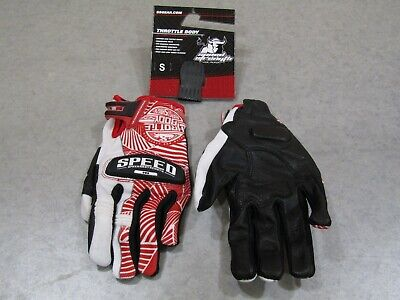 Speed And Strength Throttle Body Glove Leather/Textile Red/White Small
