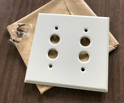 Antique vtg new old stock white painted double push button switch cover plates