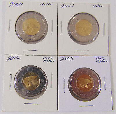 2000 - 2001 - 2002 - 2003 UNCIRCULATED CANADA TOONIE  $2 Coin - LOT of 4