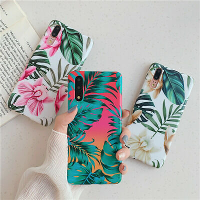 Hot Glossy Soft Flower Leaf Phone Case For Huawei P30 P20 Lite Mate20 Pro