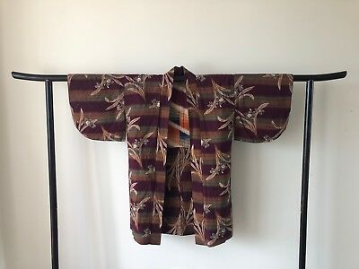 Japanese Vintage Woven Cotton Decorative floral Costume Robe Haori Jacket
