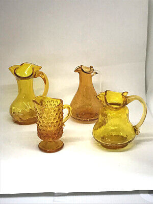 Vintage Lot of 4 Amber Pilgrim Glass Pitchers Crackle, Hobnail, and Optic Swirl