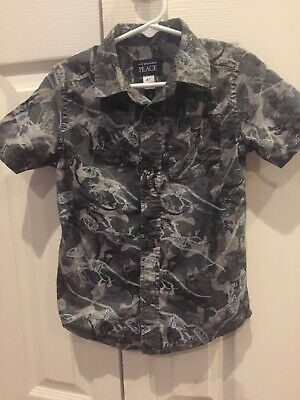 Euc The Childrens Place Dinosaur Style Toddler 4T Short Sleeve Button Down!