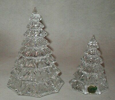 """2 Waterford Lead Crystal Clear Christmas Tree Sculptures Mint 4 1/2"""" & 6 1/2"""""""