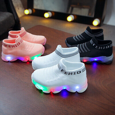 Flash LED Baby Boys Girls Toddler Kids Light Up Luminous Trainers Sneakers Shoes