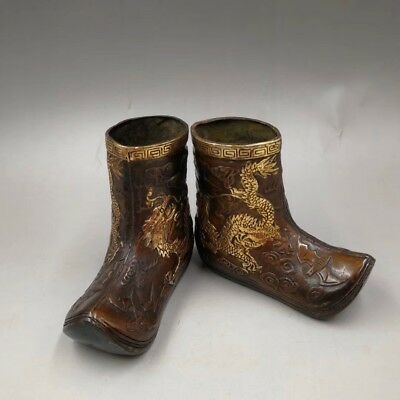 Chinese Old China copper hand-made gold-plated shoes Home decoration statues