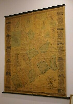 Wall Map, Antique Fairfield County CT, 1856 Clark 60x52, Greenwich, New Canaan