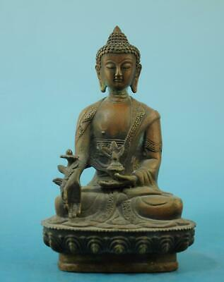 Chinese old fengshui copper hand-carved Sakyamuni Buddha statue e02