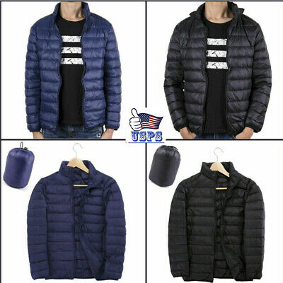 US Men Solid Down Jacket Ultralight Stand Collar Coat Winter Warm Puffer Top LM