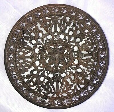 Round Antique Cast Iron VICTORIAN Heating Grate, Register, Air Return, Intricate