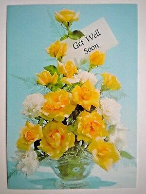 """Embassy Cards ~ VINTAGE YELLOW ROSES & CARNATIONS """"GET WELL SOON"""" GREETING CARD"""