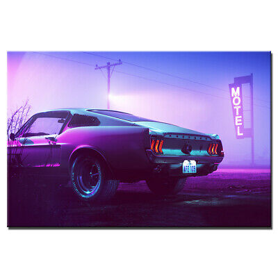 Neon Mustang Supercar Poster Unframed Canvas Painting Wall Art Picture 24X36inch
