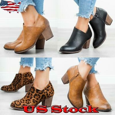 Women Mid Block Heel Zip Up V-Cut Boots Laides Ankle Boots Leopard Booties Shoes