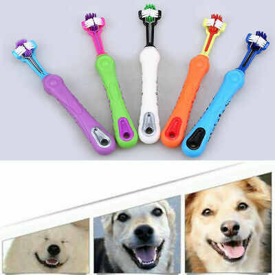 New Three Sided Pet Brush Dog Cat ToothBrush Teeth Care Cleaning Mouth Tool ABS