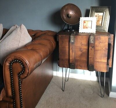 Vintage wooden Trunk Chest Rustic Industrial Sideboard / Coffee table upcycled