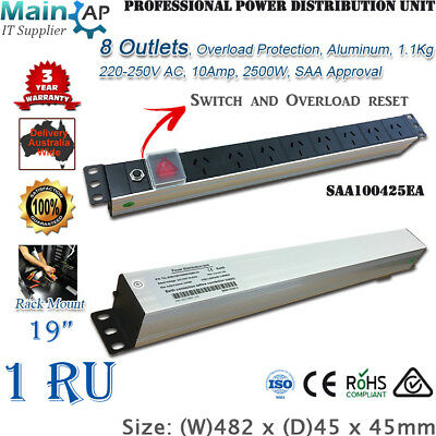 "19"" Network Server Rack 8 Ways Outlets Lightning Current Proof Pdu Power Board"