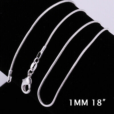 18INCH 925 Sterling Silver 1MM Classic Snake Necklace Chain Wholesale Bulk Price