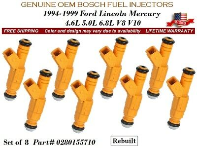 OEM Bosch Fuel Injectors Set 8 0280155710 for Ford Lincoln Mercury 4.6 5.0 V8