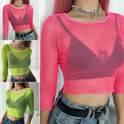 Women Sheer Mesh Fish Net Ladies Long Sleeve See Through Crop Top T Shirt Blouse