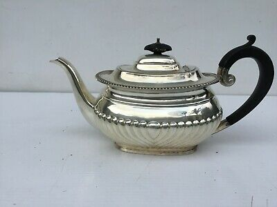 Large heavy antique silver plated tea or coffee pot with hallmarked