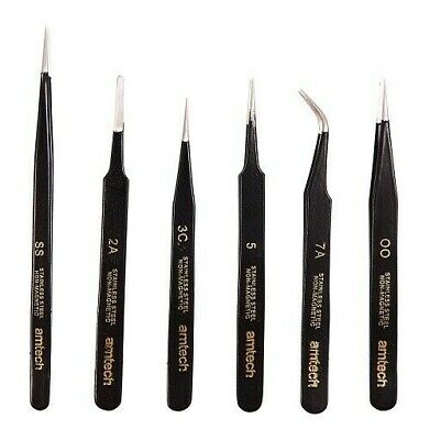 6 Piece Coated Tweezer Set Professionally Coated Precision Set Non Magnetic