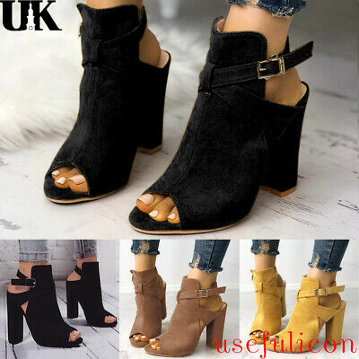 Womens Block High Heels CHELSEA SANDALS Peep Toe Chunky Ankle Strap Boots Shoes