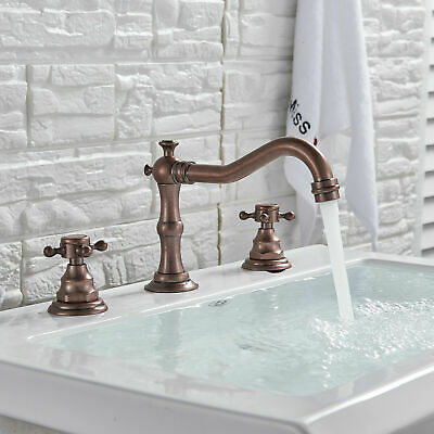 Widespread Bathroom Basin Sink Faucet Waterfall  Antique Copper Mixer Tap
