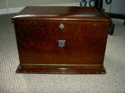 Large antique oak writing box dated 1921