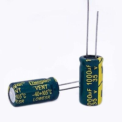 20 x 35V 1000uF Radial Electrolytic Capacitors For PCB/LCD Mount 105°C 10x20mm