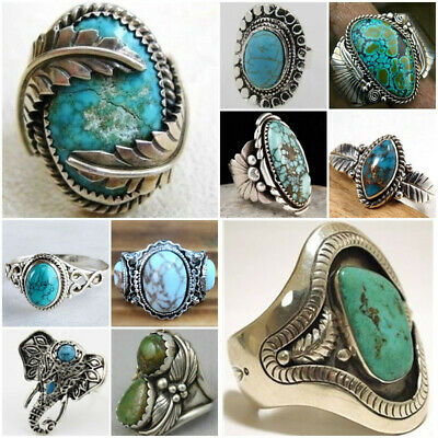 Vintage 925 Sliver Turquoise Ring Wedding Women Men Jewelry Party Gift size 6-10