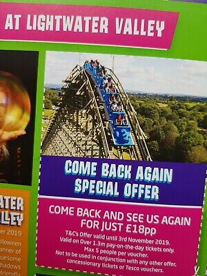 Lightwater Valley £18pp Entry Tickets X5