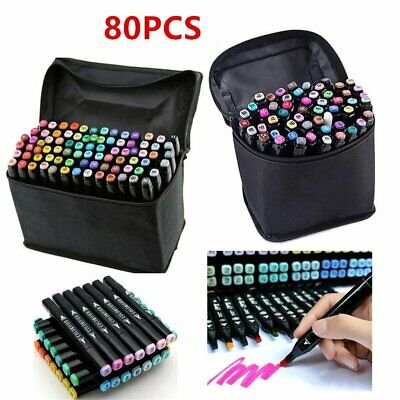 80 Colours Marker Pens Set Copic Touch Dual Heads Art Graphic Sketch Graffiti UK