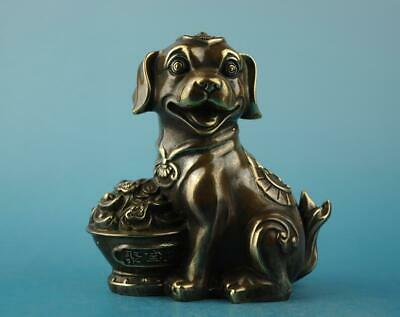 Chinese old copper hand-carved yuanbao Wealth dog statue  f01