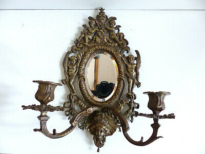 SUPERB ANTIQUE FRENCH LATE 19th CENTURY MIRRORED BRONZE SCONCES w. CHERUBS 1880s