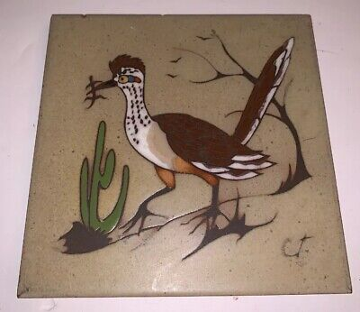 "Vtg Cleo Teissedre Tile Trivet Decor Hand Glazed 6"" X 6"" Roadrunner Southwest"