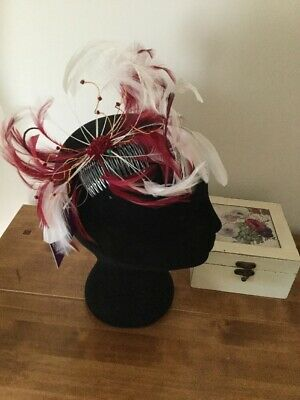Lovely NEW Wine & White Fascinator On Comb